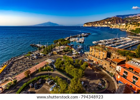 Italy. Sorrento. Fantastic scenery of Sorrento Coast from harbour. There is Mount Vesuvius in the background #794348923