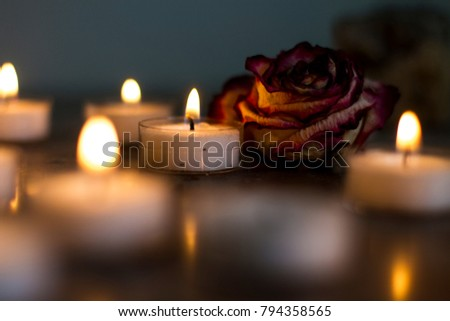 Tea Lights with flower #794358565