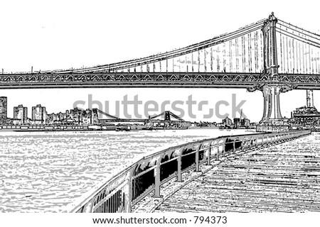 Manhattan Bridge Illustration