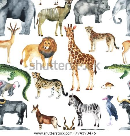 Wild animals (giraffe, elephant, cheetah, antelope) in savannah.  Watercolor Zoo seamless pattern.