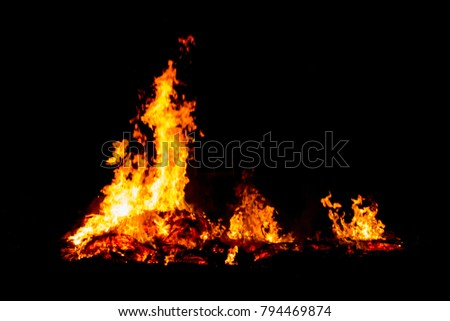Bonfire blur silhouette Black background light. at phuket Thailand #794469874