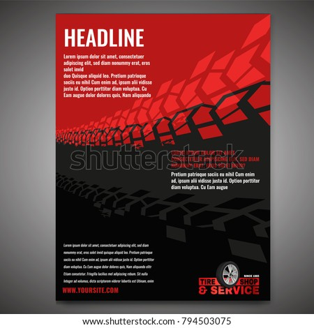 Vector automotive banner template. Grunge tire tracks background for landscape poster, digital banner, flyer, booklet, brochure and web design. Editable graphic image in grey and red colors