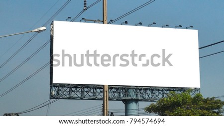 Blank billboard on blue sky background for new advertisement #794574694