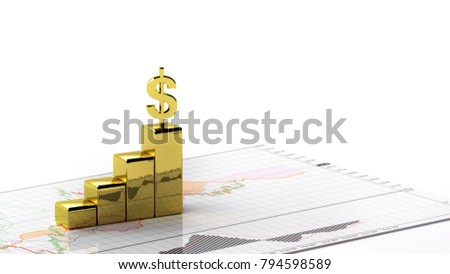 symbol golden dollar profit in the stock market 3D Illustration on the graph investment money chart indicator copy space minimal concept financial profit white background #794598589