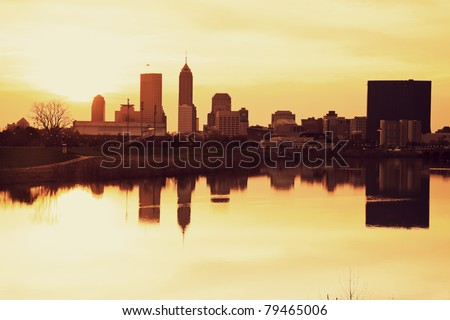 Indianapolis at sunrise - downtown seen across the river