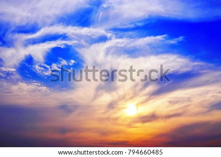 Sunset twilight sky cloud see the beautiful nature abstract and background #794660485