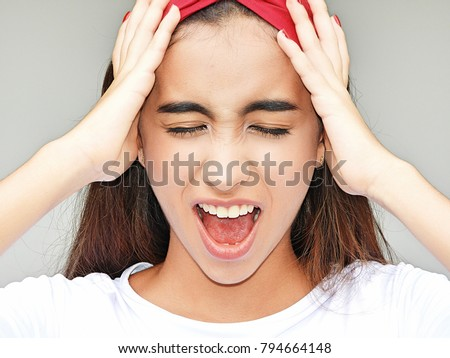 Stressed Youthful Colombian Female #794664148
