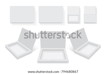 cardboard box open easy to change colors mock up vector template Royalty-Free Stock Photo #794680867