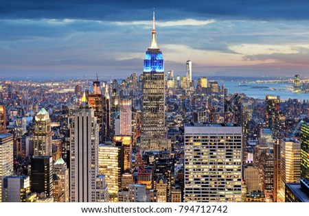 New York city at night, Manhattan, USA #794712742