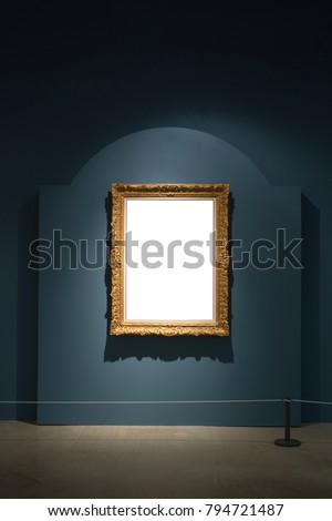Gallery Interior with empty frame on blue wall Royalty-Free Stock Photo #794721487