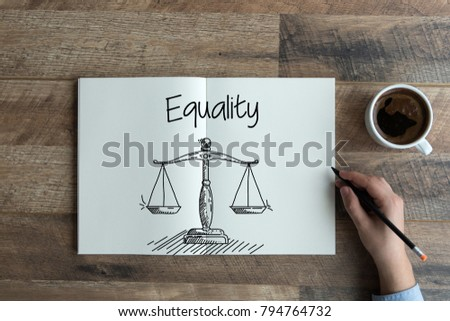 HAND DRAWING AND EQUALITY CONCEPT #794764732