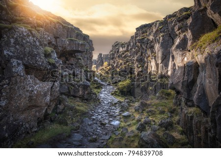 Stone pathway near the continental divide at Thingvellir Iceland  #794839708