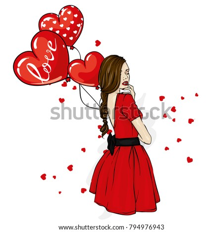 Young girl with long hair in a beautiful short dress. Vector illustration. Clothing, accessories, fashion and style. She's a slender woman. Heart shaped balls. Valentine's day, love. #794976943