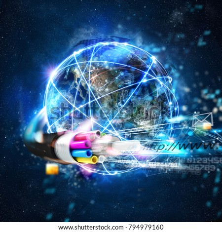 Fast internet worldwide connection with the optical fiber #794979160