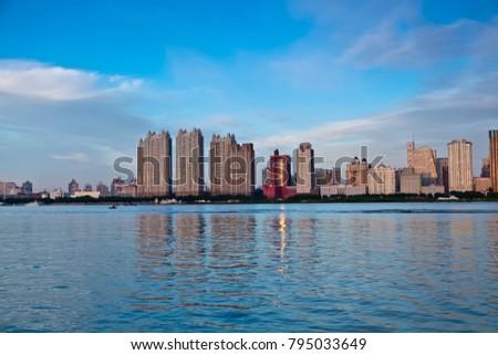Heilongjiang Province Harbin Songhuajiang Bund architectural landscape #795033649