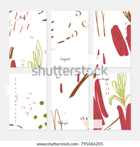 Hand drawn creative universal invitation greeting cards template. Abstract scribbles doodles bright colors.Birthday, wedding, party, social media banners templates. Isolated vector card templates. #795066205