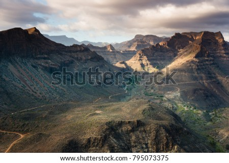 beautiful panoramic view over the mountainous landscape on Gran  #795073375