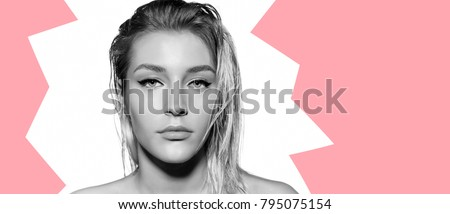 Beautiful young model with fresh daily make up. Portrait of woman with blonde hair and natural visage. Close up studio portrait on white background isolated on white. #795075154