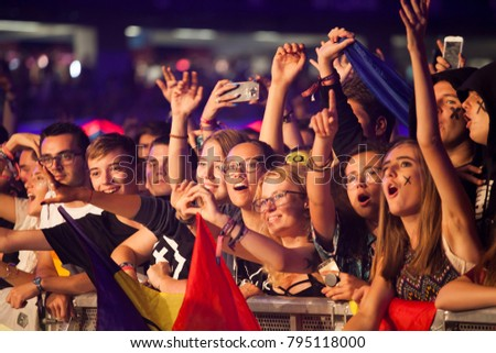 Cluj-Napoca, Romania - August 6, 2017: Crowd of young fans of Martin Garrix, popular dutch DJ, waiting for the show at Untold Festival, the Best Major Music Festival of Europe #795118000