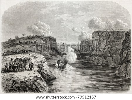 Old illustration of French steamer Basilic arrival in Senegal, through Kippes pass, going to help Medine. Created by Gaildrau, published on L'Illustration Journal Universel, Paris, 1857