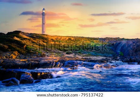 Sunset over the ocean at the Leewin light house Western Australia