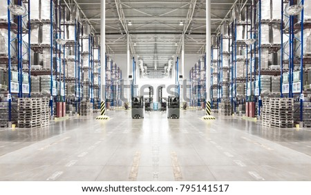Typical storage, warehouse interior. Toned image. Selective focus. Horizontal banner. #795141517