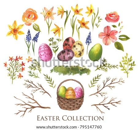 Hand-drawn watercolor Easter decoration collection. Eggs, willow branches, spring flowers, basket isolated on the white background. Spring decorative elements set