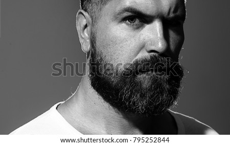 Solid man with beard and mustache. Closeup portrait of athletic bearded man. Handsome stylish bearded man. Sexy male, macho, long beard. Attractive caucasian bearded hipster. Black and white. #795252844
