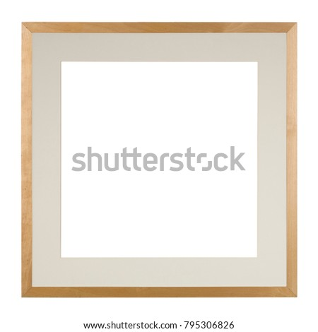 Empty picture frame in a heavily distressed light oak moulding with matte, isolated on white, square format