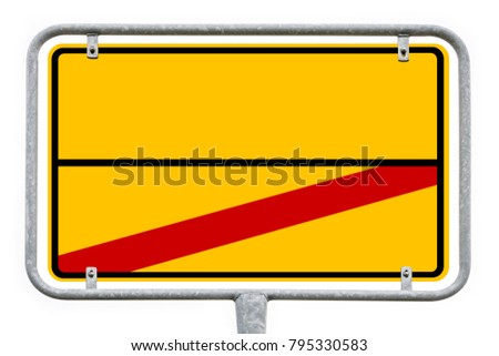 Yellow Empty German City Sign With Free Copy Space