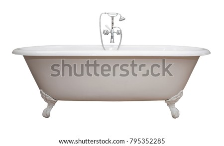 Beautiful classic style white claw foot bathtub with stainless steel old fashioned faucet and sprayer. Isolated on white.  #795352285