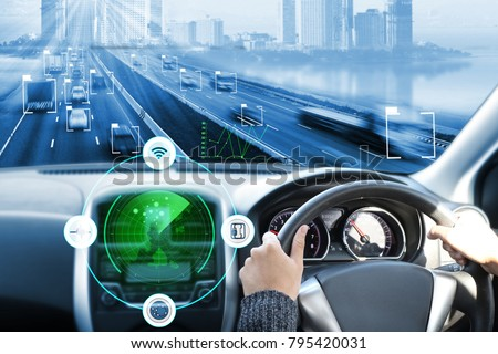 electric car or intelligent car.Heads up display(HUD).futuristic vehicle and graphical user interface(GUI).self-driving mode , autonomous car, vehicle running self driving mode and a woman driver #795420031