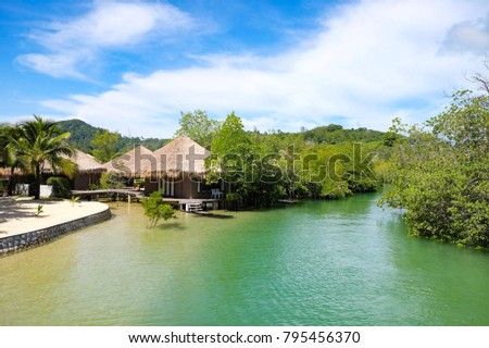 Bungalow in the sea at southern beach of Thailand #795456370
