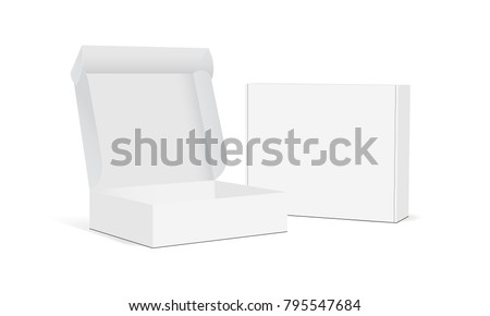 Two blank packaging boxes - open and closed mockup, isolated on white background. Vector illustration Royalty-Free Stock Photo #795547684