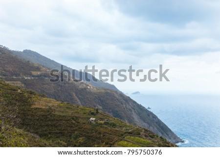 beautiful landscape with grassy hills and seascape in Riomaggiore, Italy  #795750376
