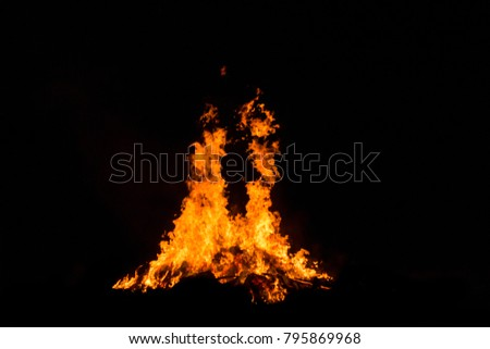 Bonfire blur silhouette Black background light. at phuket Thailand #795869968