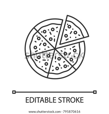 Pizza with one slice separated linear icon. Thin line illustration. Contour symbol. Vector isolated outline drawing. Editable stroke