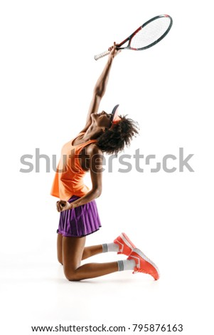 Side view of happy young tennis girl holding racket and gesturing isolated on white background. Strength and motivation #795876163