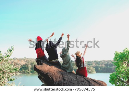 Group of Four best friends laughing and having a good time while hiking in wild forest, beauty of nature. Relax time on holiday concept travel, Thailand. #795894595