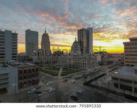 Downtown with sunset in background #795895330