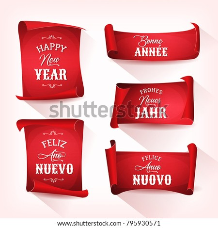 Happy New Year In Multilanguage On Red Parchments Illustration of a set of happy new year wishes, with lettering and ornamental text in multiple languages, in french, german, spanish and italian #795930571