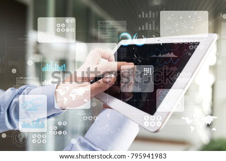 Virtual touch screen. Project management. Data analysis. Hitech technology solutions for business. Development. Icons and graphs background.  Internet and networking. #795941983