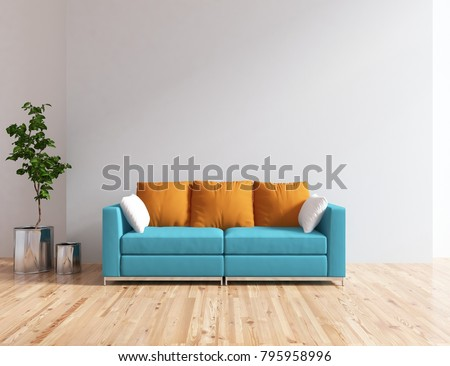 Idea of a white scandinavian living room interior with blue comfortable sofa and vases on the wooden floor and large wall and white landscape in window. Home nordic interior. 3D illustration #795958996