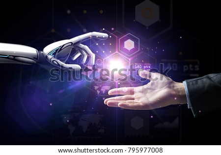 artificial intelligence, future technology and business concept - robot and human hand with flash light and virtual screen projection over black background Royalty-Free Stock Photo #795977008