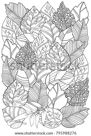 Floral doodle background pattern in vector with autumn leaves. A4 size. Design Asian, ethnic, zentangle, tribal pattern. Black and white. Coloring book. Monochrome.