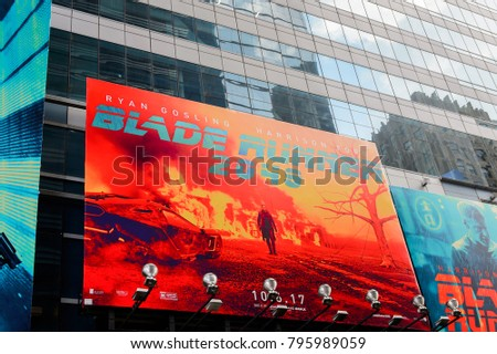 NEW YORK, USA - SEP 16, 2017: Blade runner film poster,  Manhattan, New York City, United States of America #795989059