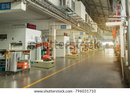 iot smart industry 4.0 concept. Automation robotic arm working in operation machine zone in factory, Robot using in industrial manufacturing for precision, Repetition, intense labor,more productivity #796031710