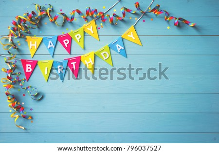 Happy birthday party background with text and colorful tools, top view #796037527