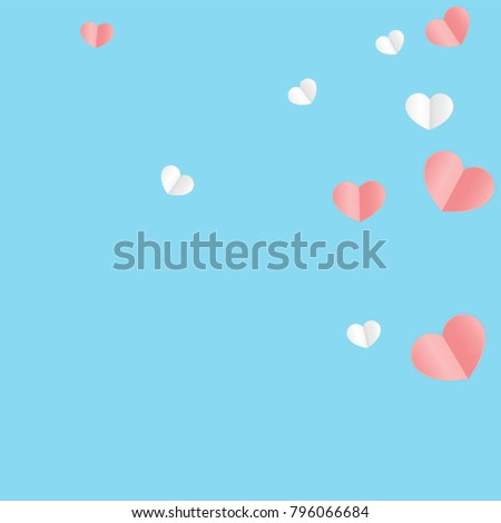 Hearts Confetti Background. St. Valentine's Day pattern.   Romantic Scattered Hearts Texture. Love. Sweet Moment. Vector Illustration.   Element of Design for Cards, Banners, Posters, Flyers.   #796066684