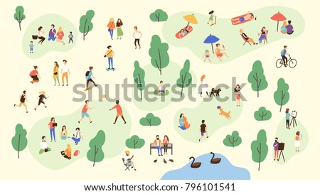 Various people at park performing leisure outdoor activities - playing with ball, walking dog, doing yoga and sports exercise, painting, eating lunch, sunbathing. Cartoon colorful vector illustration. Royalty-Free Stock Photo #796101541